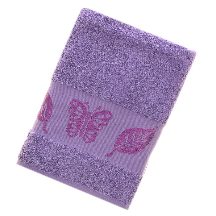Полотенце махровое Fiesta Cotonn Butterfly 70х130 см, цвет сиреневый, хлопок 500г/м2