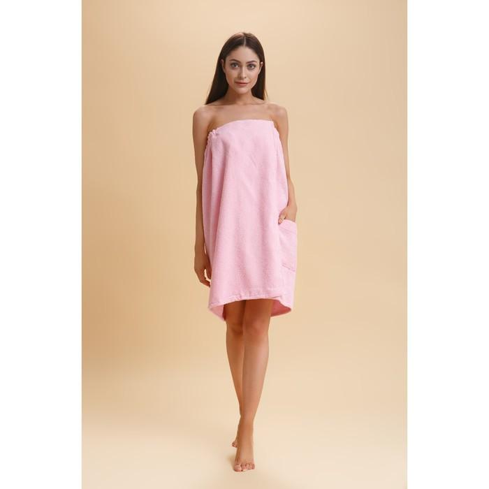 Парео женское 80х145см, цв. розовый, махра 350г/м, хл100%