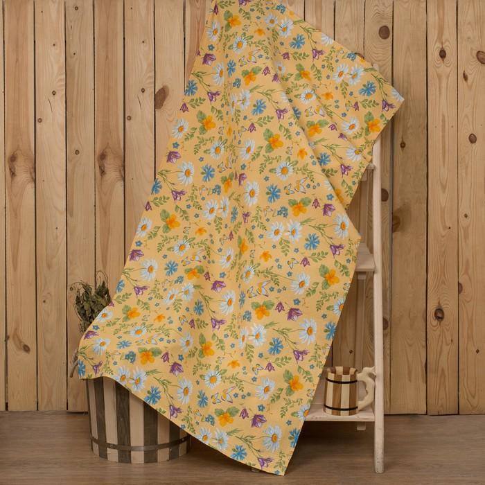 """Полотенце для бани Collorista """"Русское поле"""" 80х 150 см,  хлопок вафельное полотно"""