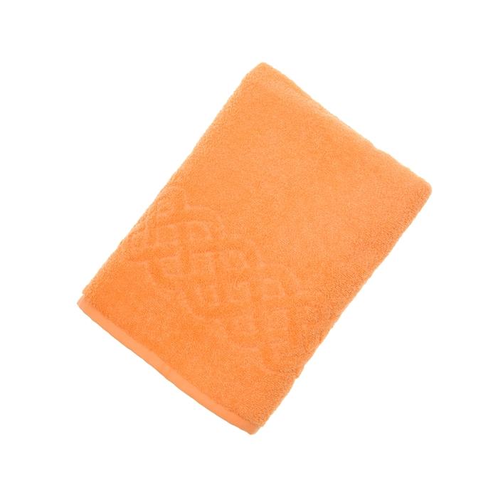 Полотенце махровое жаккард банное Plait, размер 70х130 см, 350 г/м2, цвет оранжевый