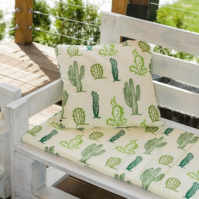Декоративная подушка уличная «Этель» Кактусы, 45×45 см, репс с пропиткой ВМГО, 100% хлопок