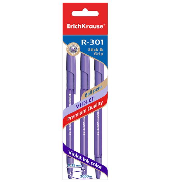 Пакет ручек шариковых, ErichKrause® 44595, R-301 Violet Stick&Grip