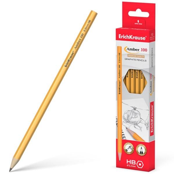 Блистер чернографитных шестигранных карандашей, ErichKrause® Amber 100 HB