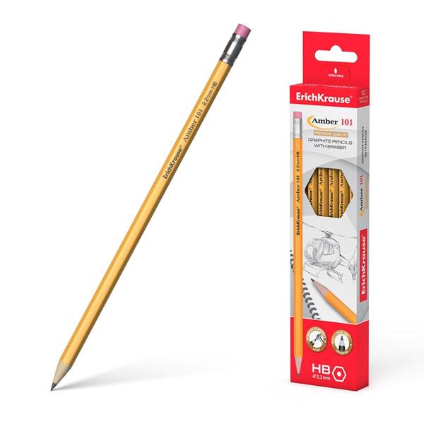 Блистер чернографитных шестигранных карандашей, ErichKrause® Amber 101 HB