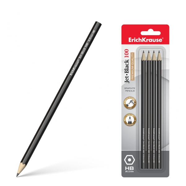 Блистер чернографитных шестигранных карандашей, ErichKrause® Jet Black 100 HB
