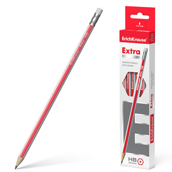 Чернографитный шестигранный карандаш, ErichKrause® 43575, Extra HB