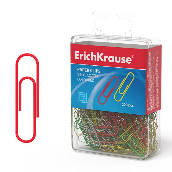 Скрепки металлические никелированные ErichKrause® 19740 цветные 28мм