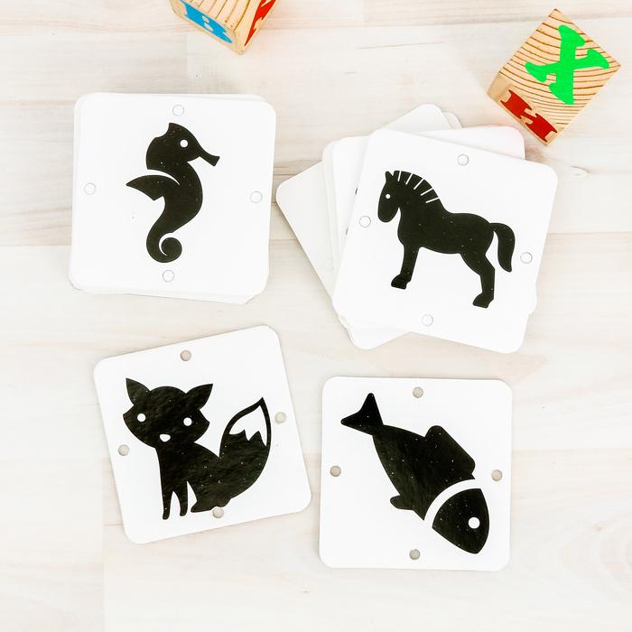 """Игра развивающая для новорожденых """"Черно-белые картинки. Животные"""""""