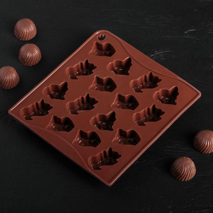 """Форма для льда и шоколада """"Кошки"""", 16 ячеек, цвет шоколадный"""