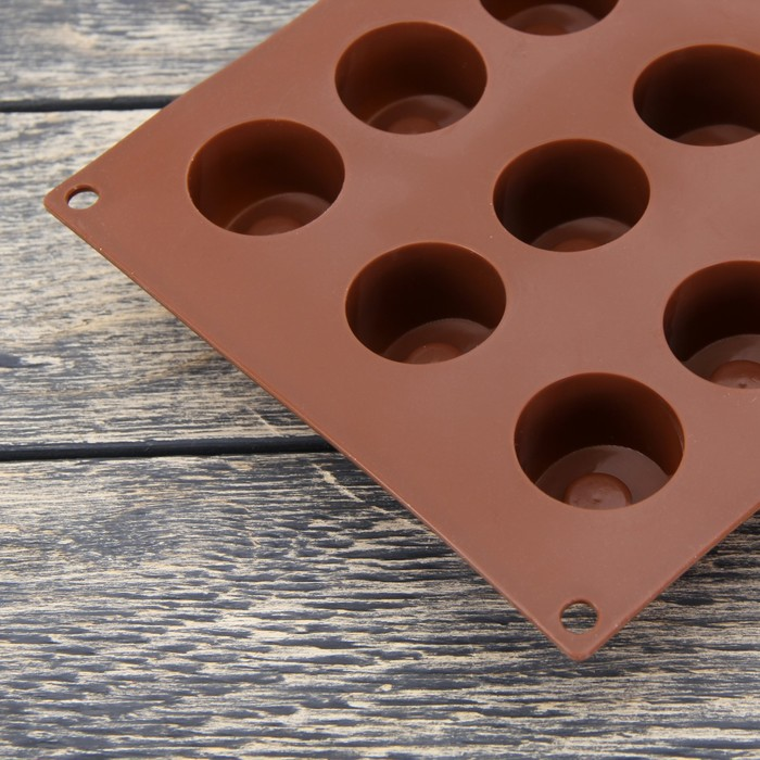 """Форма для выпечки """"Кругляши"""", 18 ячеек, цвет шоколадный"""