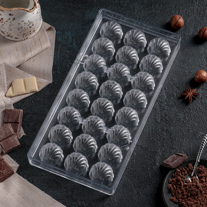 """Форма для шоколада 27,5×13,5 см """"Ракушка"""", 24 ячейки"""