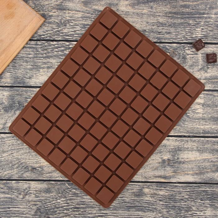 """Форма для льда и шоколада """"Кубики"""", 80 ячеек, цвет шоколадный"""