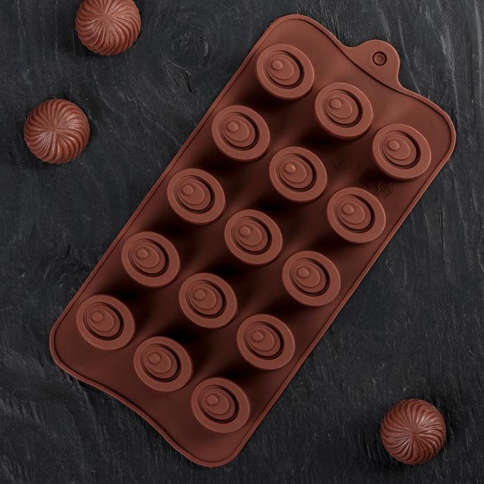 """Форма для льда и шоколада """"Шоколадное удовольствие"""", 15 ячеек"""