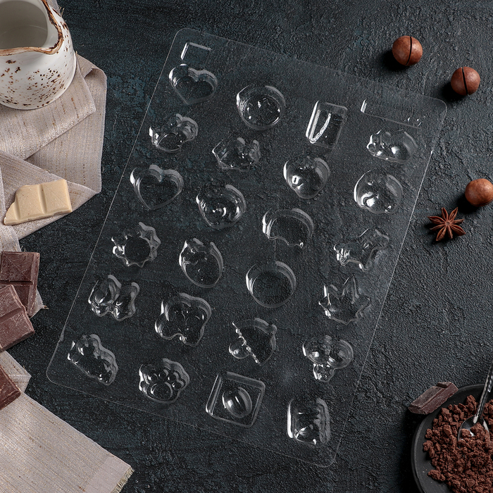"Форма для шоколада 28,4×20,5 см ""Ассорти"", 24 ячейки"