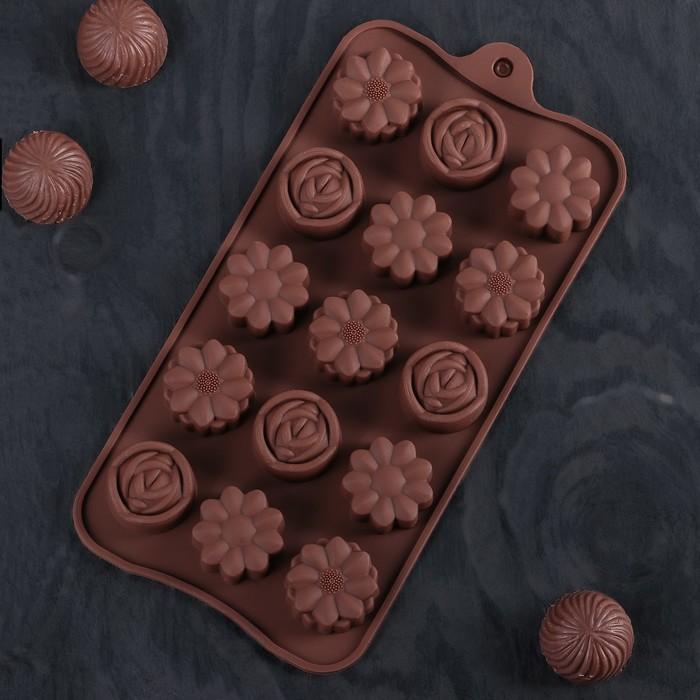 """Форма для льда и шоколада 21×10 см """"Клумба"""", 15 ячеек, цвет шоколадный"""