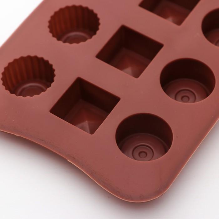"""Форма для льда и шоколада """"Кружочки, квадратики"""", 15 ячеек"""