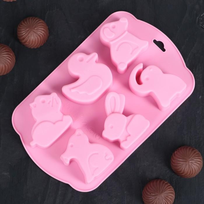 """Форма для льда и шоколада """"Животные"""", 6 ячеек, цвета МИКС"""