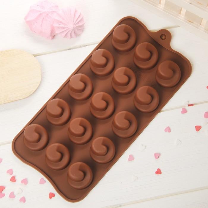 """Форма для льда и шоколада """"Вихрь"""", 15 ячеек, цвет шоколадный"""