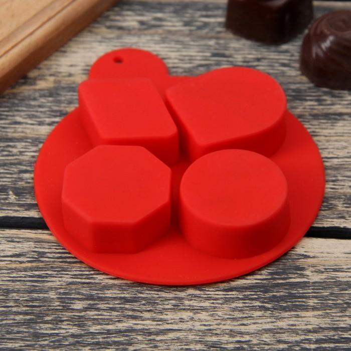 """Форма для льда и шоколада """"Дольки шоколада"""", 4 ячейки, цвета МИКС"""