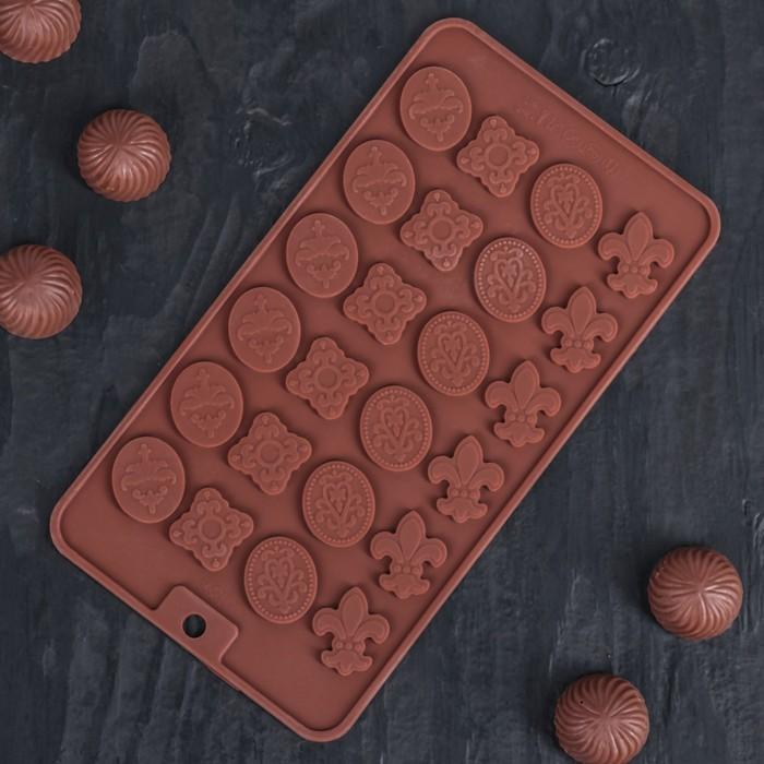 """Форма для льда и шоколада 21х11 см """"Конфеты"""", 24 ячейки, цвет шоколадный"""