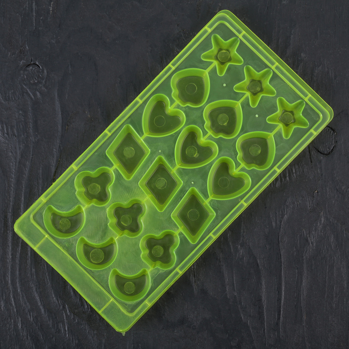 Форма для льда 22×11×2 см, 18 ячеек, цвет МИКС