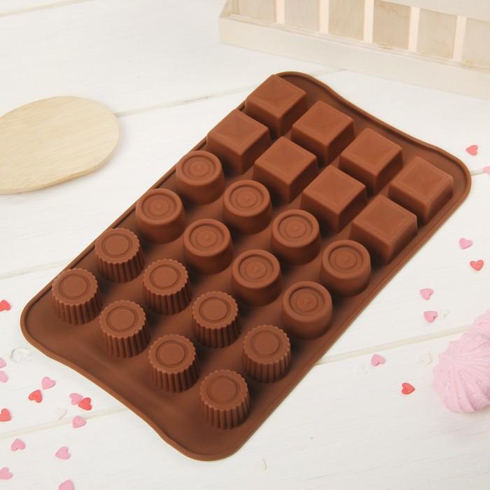 """Форма для льда и шоколада """"Коробка конфет"""", 24 ячейки, цвет шоколадный"""