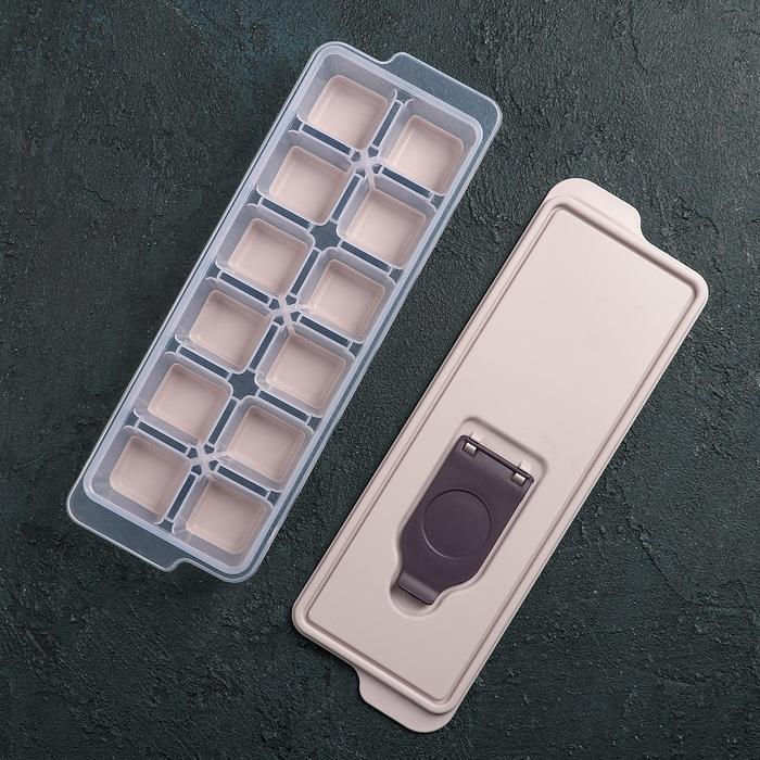 Форма для льда с крышкой  и силиконовым дном, цвет МИКС