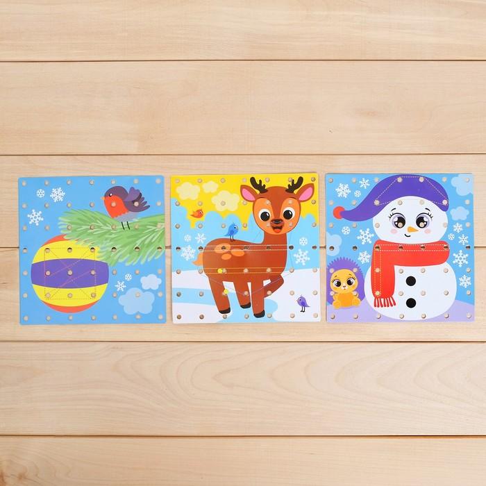 Геоборд двусторонний «Новогодний» со сменными картинками и резиночками, цвета МИКС