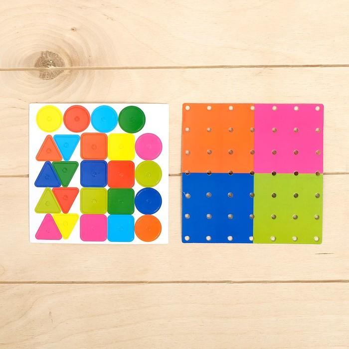 Геоборд двусторонний «Формы и цвета» со сменными картинками и резиночками