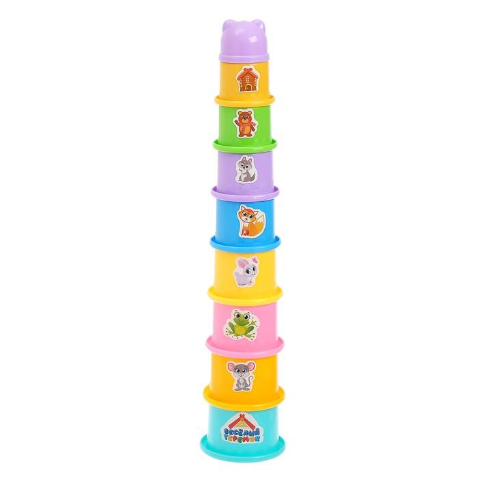 Развивающая игрушка «Пирамидка-стаканчики: Теремок», 9 предметов