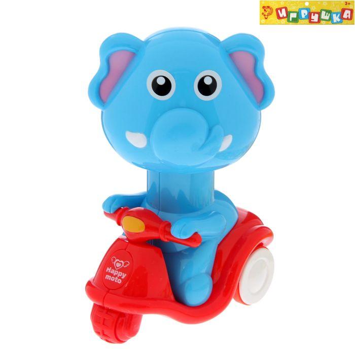 """Игрушка """"Веселые звери на мотоцикле"""", 3 вида, приходит в движение от нажатия на животное"""
