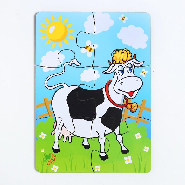 Пазл «Корова на лугу», 6 элементов, размер детали: 5 × 4,6 см