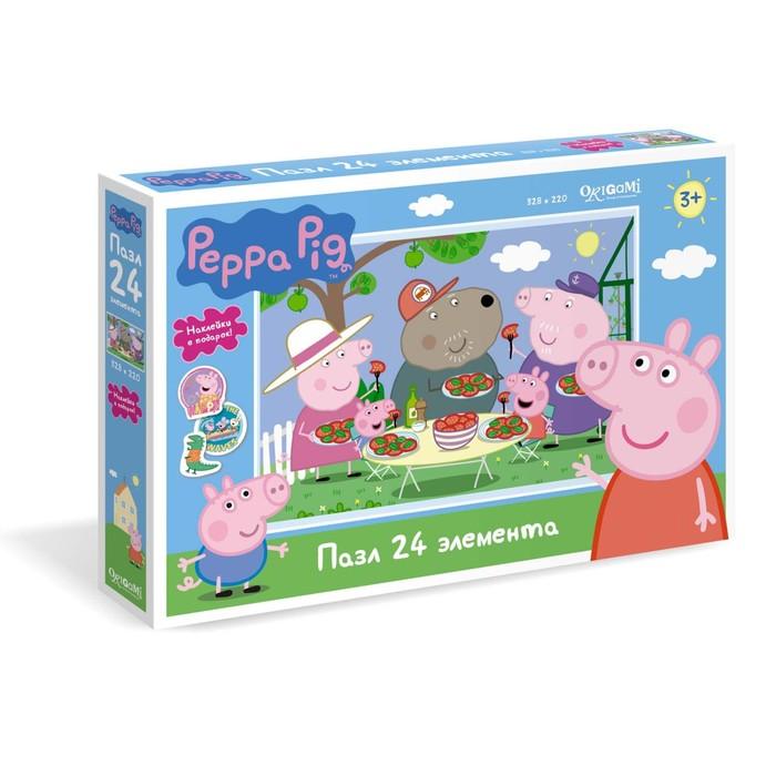 Пазл «Свинка Пеппа. Отдых на природе», 24 элемента + наклейки