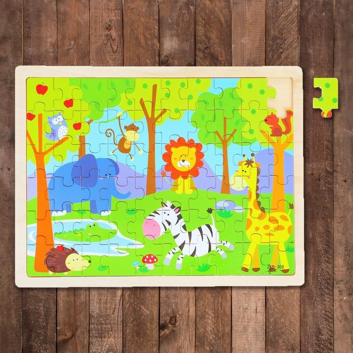 """Пазл в деревянной рамке """"Зоопарк"""", 60 элементов: 3,5 × 2,5 см"""
