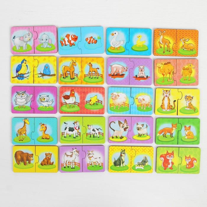 """Пазл - набор """"Мама и малыш"""", пазл-двойной, размер парного элемента: 5,3 × 8,8 см, картинки наклеены"""