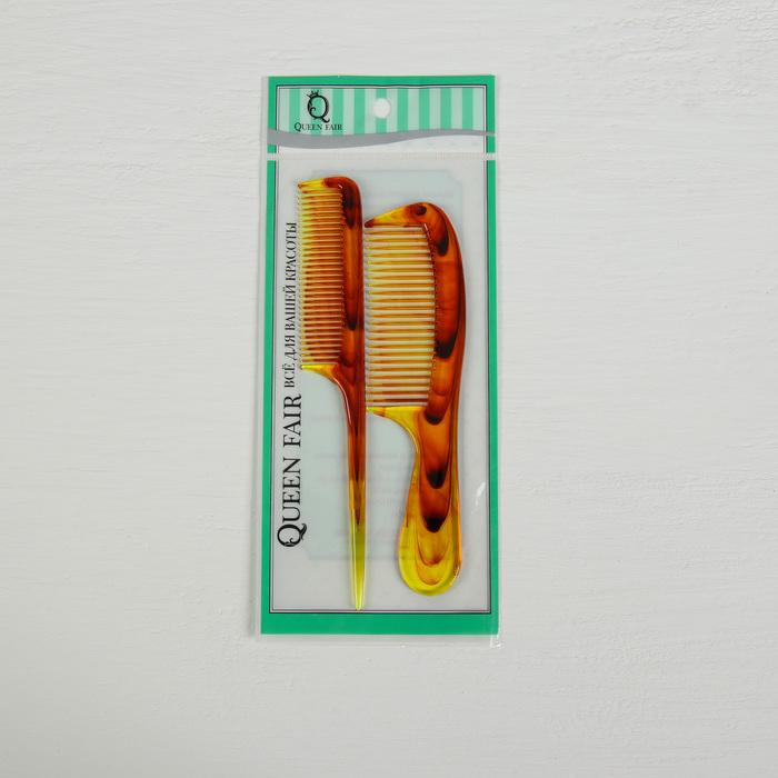 Набор расчёсок, 2 предмета, цвет янтарный»
