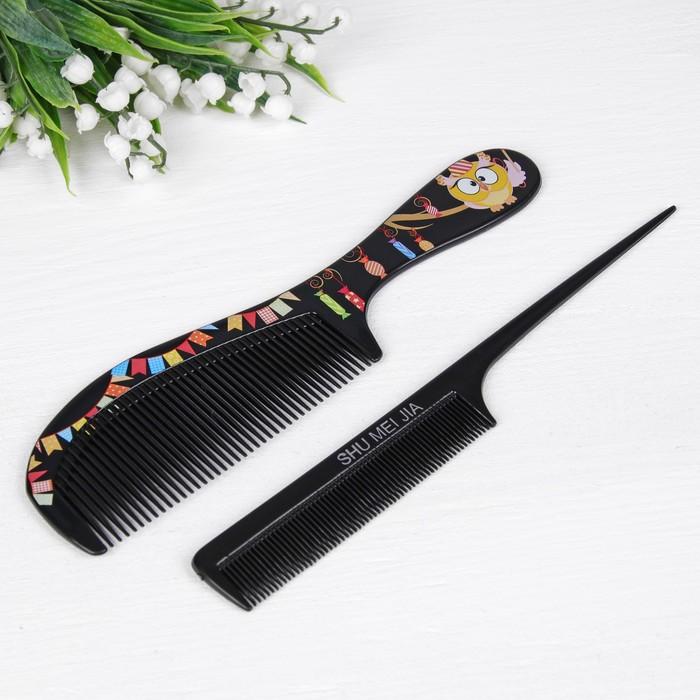 Набор расчёсок, 2 предмета, цвет чёрный