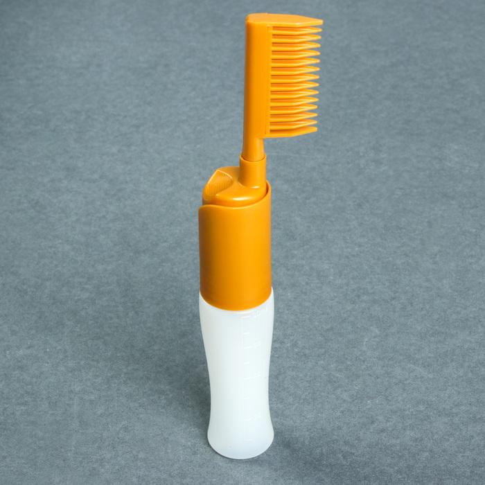 Расчёска-дозатор для окрашивания волос, 80 мл, цвет золотой/белый