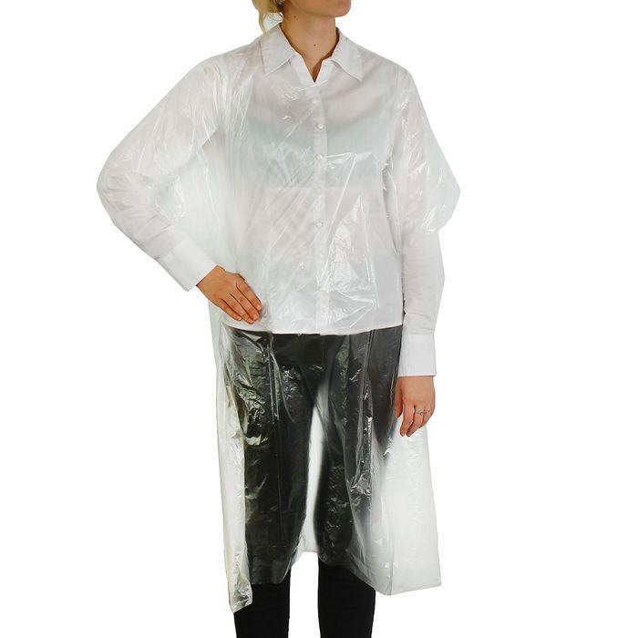Пеньюар парикмахерский, одноразовый, 100 × 140 см, плотность - 8 мкм, цвет прозрачный