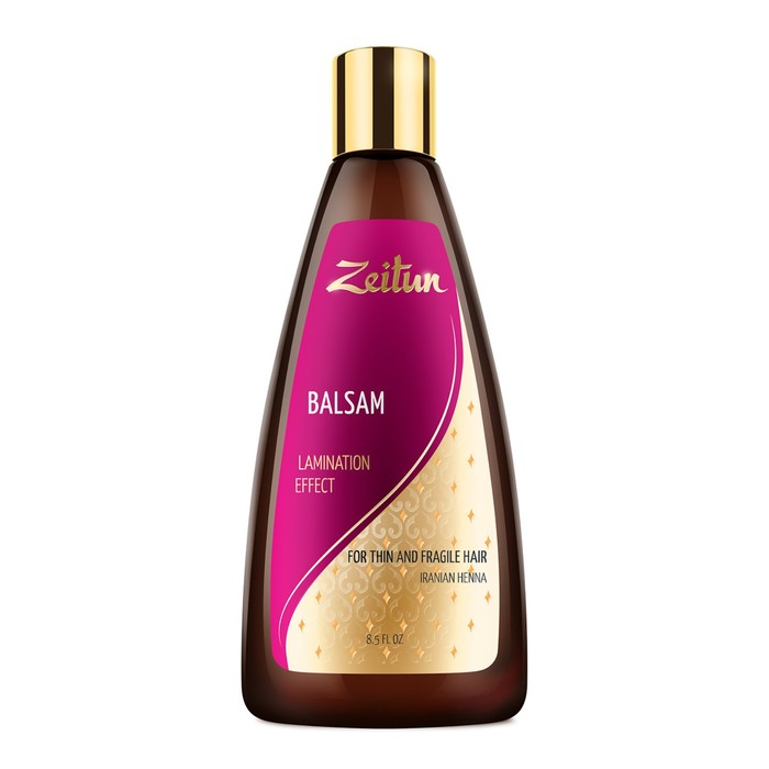 Бальзам Zeitun «Эффект ламинирования» для тонких и хрупких волос с иранской хной и 7 драгоценными маслами, 250 мл