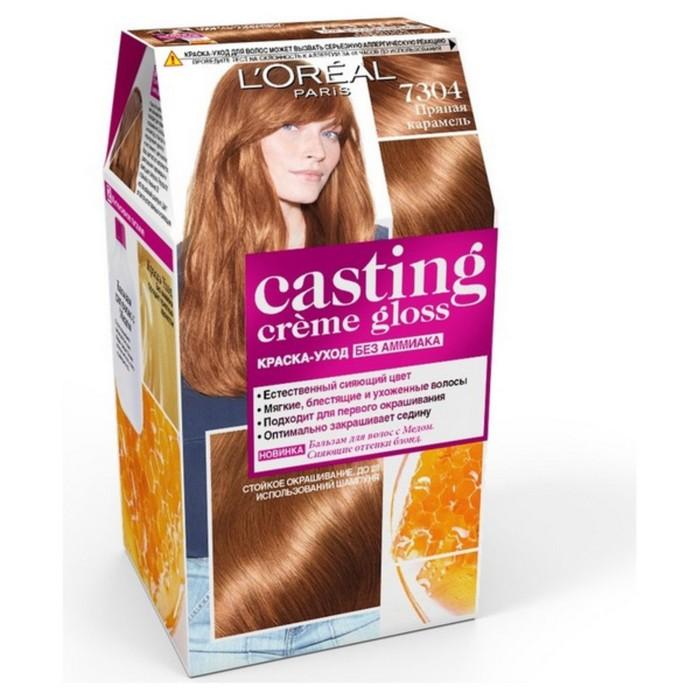 Краска для волос L'Oreal Casting Creme Gloss, без аммиака, тон 7304, Пряная карамель