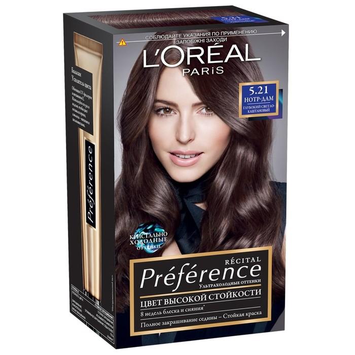 Стойкая краска для волос L'Oreal «Preference», оттенок 5.21, Нотр-Дам