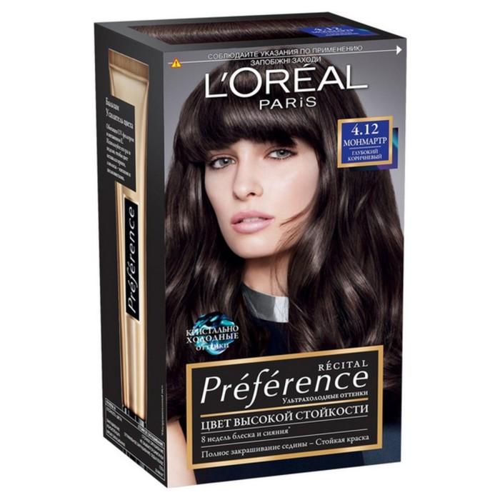 Краска для волос L'Oreal Recital Preference, тон 4.12 «Монмартр», глубокий коричневый