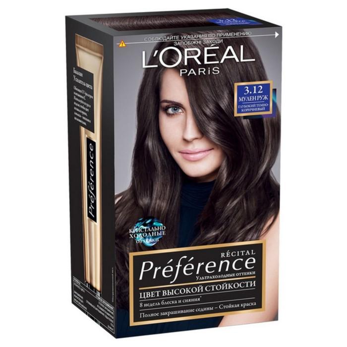 Краска для волос L'Oreal Recital Preference, тон 3.12 «Мулен Руж», глубокий тёмно-коричневый
