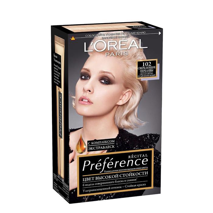 Краска для волос L'Oreal Recital Preference, тон 102, «Сверкающие переливы», светло-русый, жемчужный