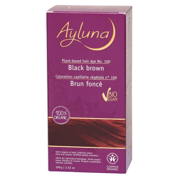 Краска для волос Ayluna, растительная, оттенок 100 черно-коричневый, 100 г