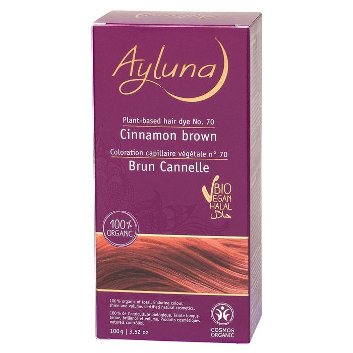 Краска для волос Ayluna, растительная, оттенок 70 коричный коричневый, 100 г