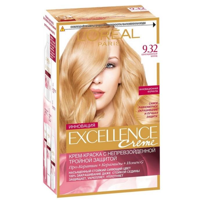 Крем-краска для волос L'Oreal Excellence Creme, тон 9.32, сенсационный блонд