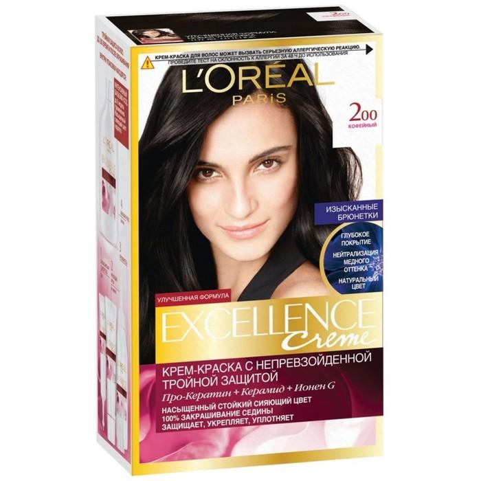 Крем-краска для волос L'Oreal Excellence Creme, тон 200, кофейный