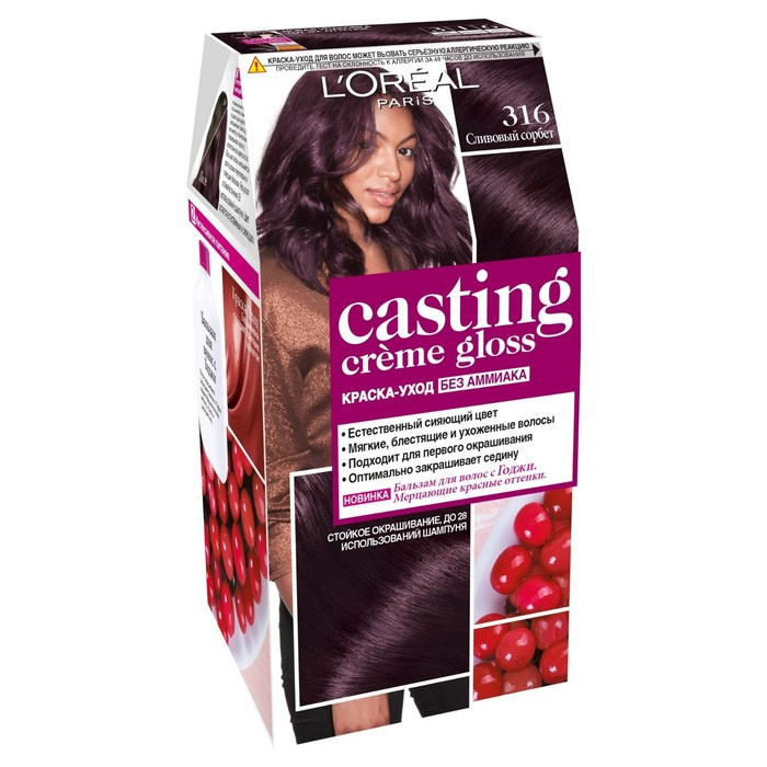 Краска для волос L'Oreal Casting Creme Gloss, без аммиака, тон 316, сливовый сорбет